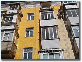 Покраска фасада и стен на высоте